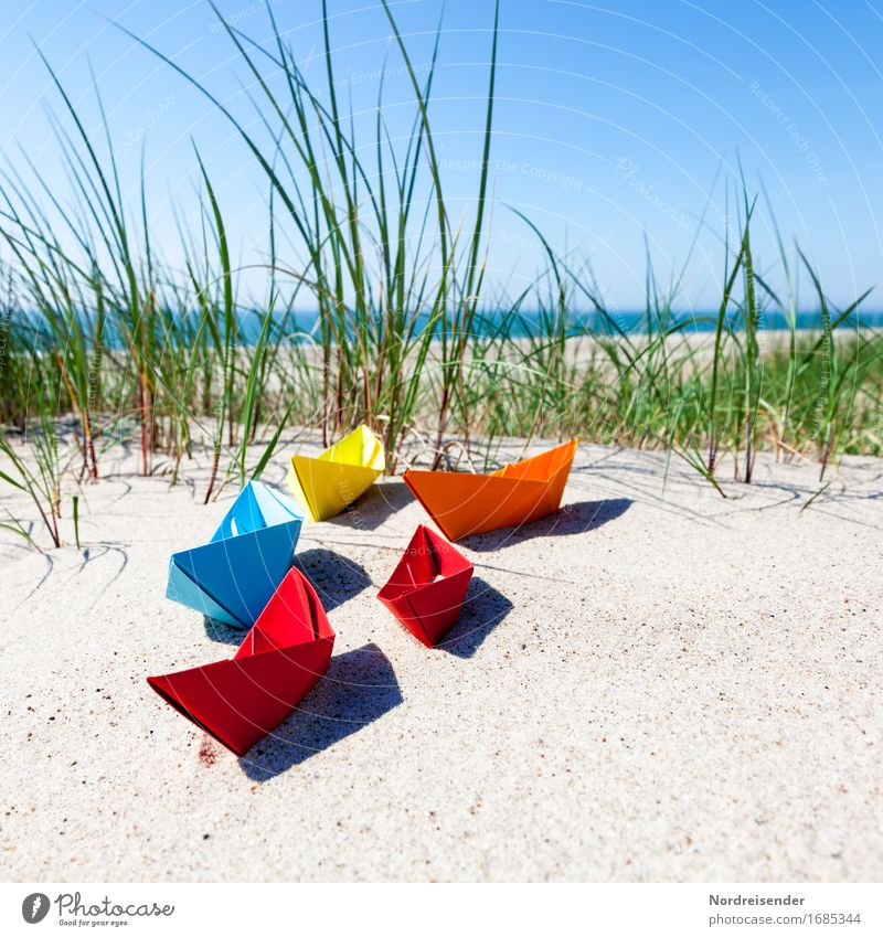Sommerzeit Spielen Basteln Ferien & Urlaub & Reisen Sommerurlaub Strand Meer Sand Wasser Wolkenloser Himmel Sonne Schönes Wetter Gras Nordsee Ostsee Schifffahrt