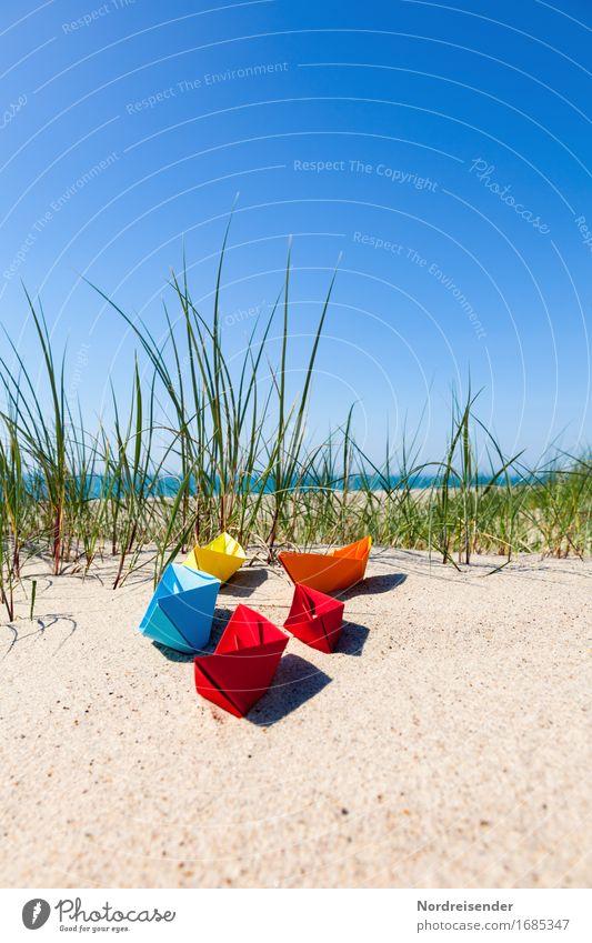 Sommerzeit Ferien & Urlaub & Reisen Wasser Sonne Meer Strand Gras Spielen Freiheit Sand Lebensfreude Schönes Wetter Papier Ostsee Fernweh Spielzeug
