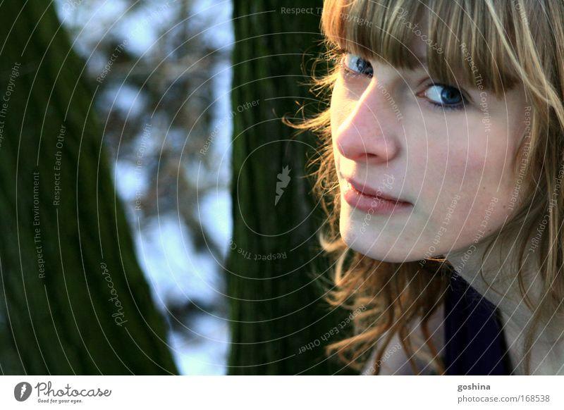 Leuchten Frau Mensch Jugendliche schön Baum Gesicht ruhig Einsamkeit Schnee feminin Freiheit Eis hell glänzend blond