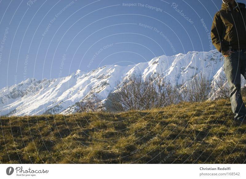 Aussichten Mensch Mann Natur Sonne Winter Leben Wiese kalt Schnee Berge u. Gebirge Frühling Zusammensein Feld Bekleidung Alpen