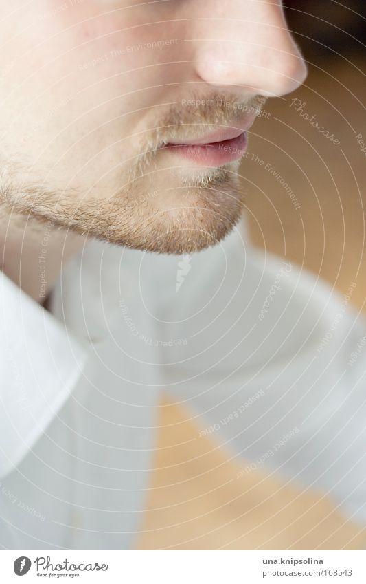 einer Mann Erwachsene Haut Kopf Gesicht Nase Mund Bart 1 Mensch Hemd blond Dreitagebart warten Erfolg Freundlichkeit frisch seriös weiß Coolness Verantwortung
