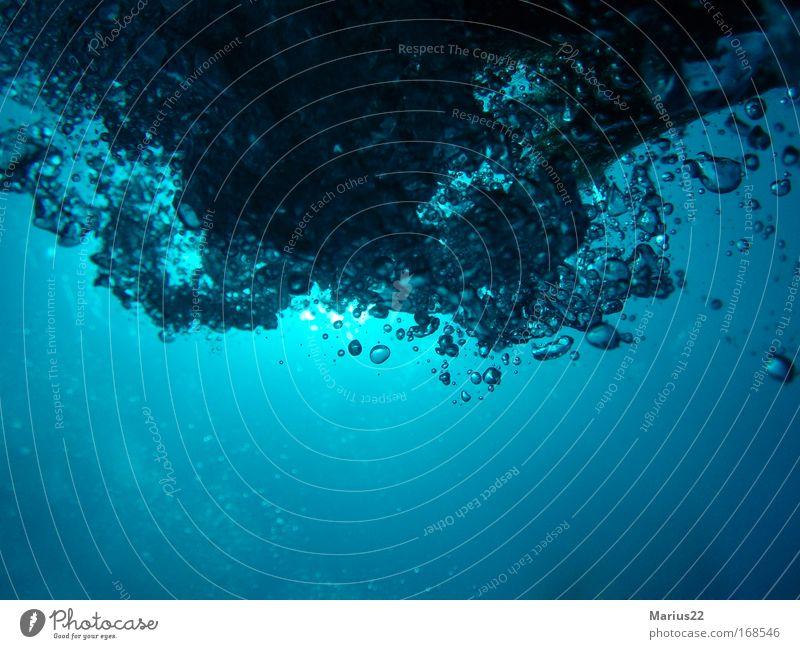 Luftblasen mehrfarbig Unterwasseraufnahme Experiment abstrakt Strukturen & Formen Menschenleer Textfreiraum unten Hintergrund neutral Licht Schatten Silhouette