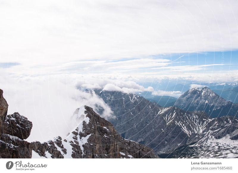 Blick von der Zugspitze im Sommer Natur Ferien & Urlaub & Reisen Wasser Landschaft Wolken Ferne Berge u. Gebirge Umwelt Freiheit Tourismus Horizont Wetter