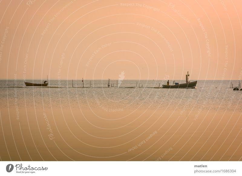 Morgenstund Mensch 2 Natur Landschaft Wasser Himmel Wolkenloser Himmel Horizont Sonnenaufgang Sonnenuntergang Wetter Schönes Wetter Ostsee Fischerboot blau