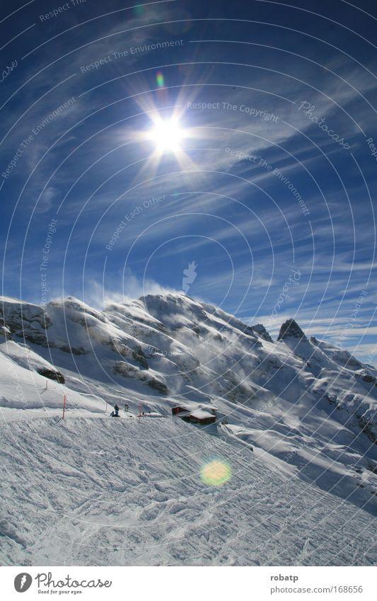 Titlis 01 0309 Farbfoto Außenaufnahme Morgen Licht Sonnenlicht Gegenlicht Panorama (Aussicht) Winter Schnee Winterurlaub Skifahren Landschaft Himmel Wind Alpen