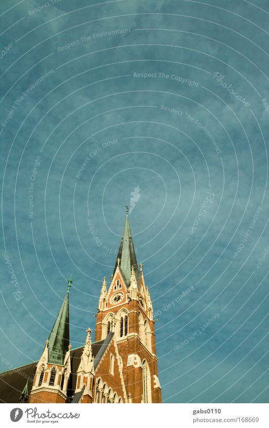 Herz Jesu schön alt Himmel grün blau rot Wolken Wand Mauer braun Religion & Glaube Kunst groß Kirche Dach