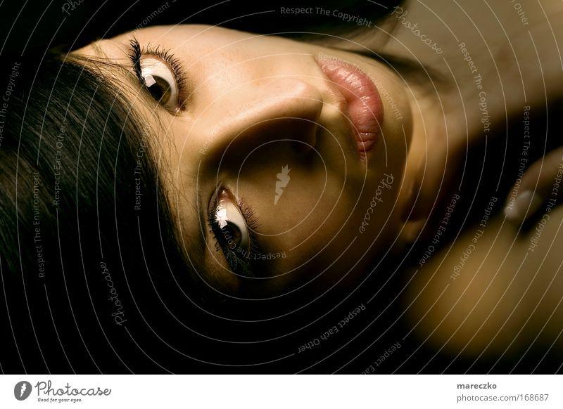 Schattenspiel Farbfoto Studioaufnahme Kunstlicht Porträt elegant schön Kosmetik feminin Frau Erwachsene Haut Haare & Frisuren Gesicht Auge berühren liegen