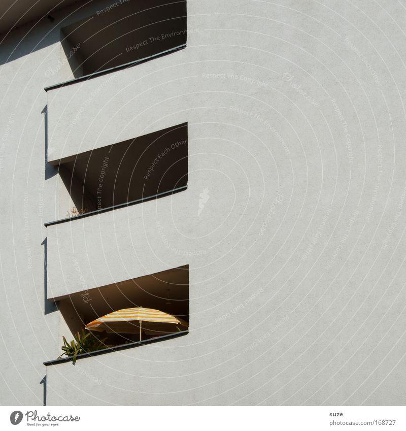 Sonnenschirm Design Wohnung Mittelstand Pflanze Haus Gebäude Architektur Mauer Wand Fassade Balkon Stein Beton genießen authentisch eckig einfach Sauberkeit