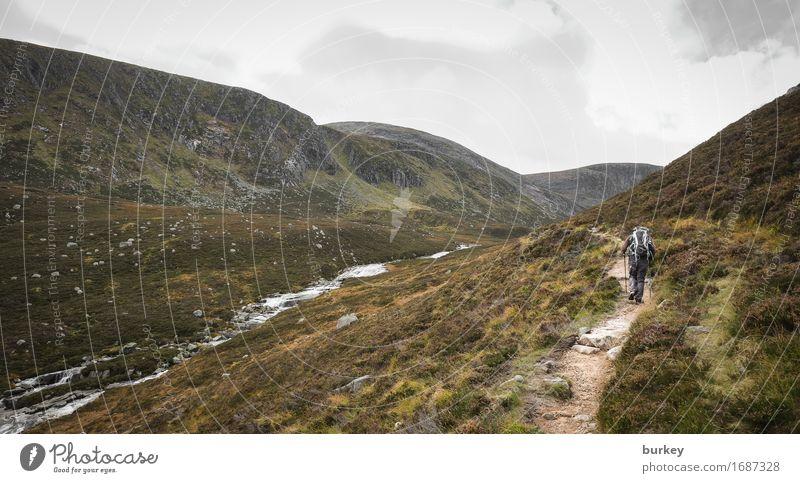 Aufbruch Natur Ferien & Urlaub & Reisen grün Wolken Ferne Berge u. Gebirge Wege & Pfade Freiheit braun wandern einzigartig einfach Abenteuer Unendlichkeit