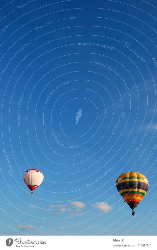 ein schöner Tag Farbfoto Außenaufnahme Freizeit & Hobby Ausflug Abenteuer Sommer Schönes Wetter Luftverkehr Ballone fahren fliegen Freiheit Blauer Himmel