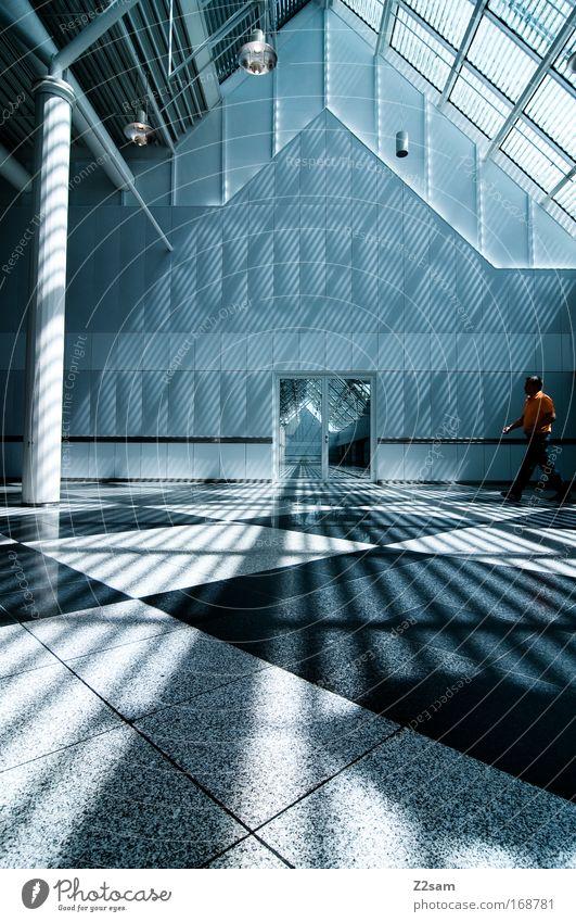 kathedrale der moderne Mensch Mann Stadt ruhig Haus Lampe dunkel kalt Gebäude Architektur Tür modern ästhetisch Sauberkeit Fliesen u. Kacheln