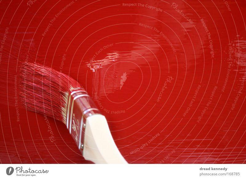 Streichen rot Arbeit & Erwerbstätigkeit Wand Bewegung Holz Farbstoff glänzend frisch Dekoration & Verzierung Beruf streichen berühren Flüssigkeit Leidenschaft