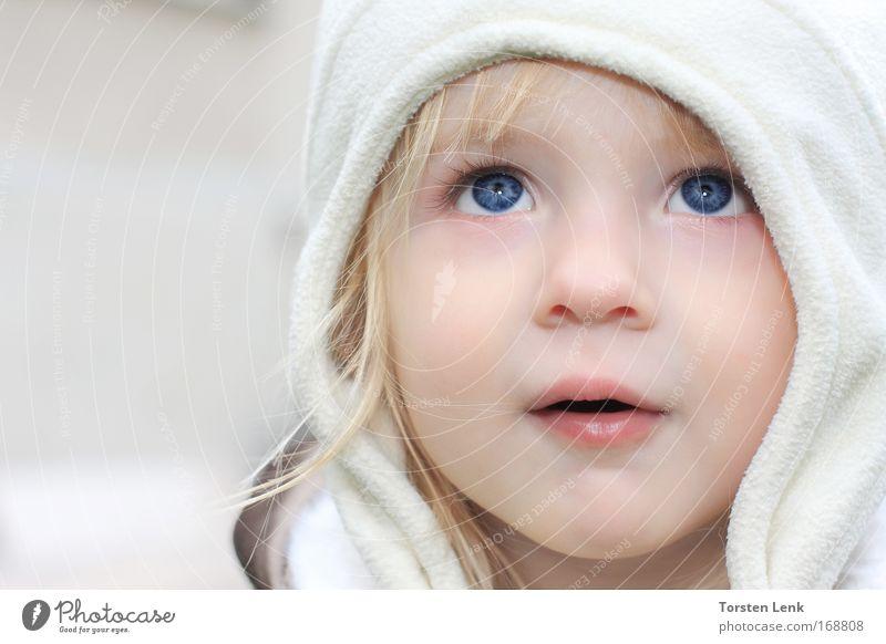 Ohh .... Gesicht Kind Kleinkind Mädchen Kopf Auge 1 Mensch 1-3 Jahre Mütze beobachten berühren entdecken Blick träumen ästhetisch blond schön klein Neugier süß