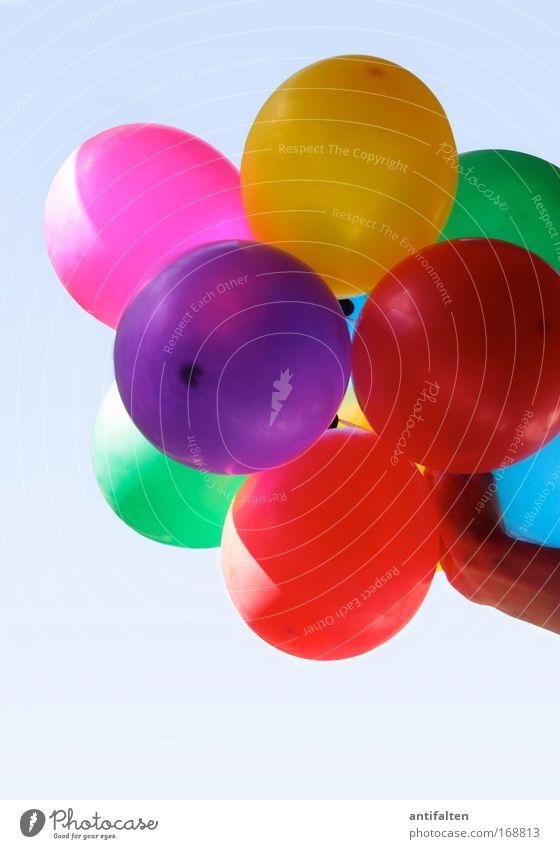 Ballonhalter Luftballon ästhetisch positiv mehrfarbig gelb violett rosa rot Farbfoto Außenaufnahme Hintergrund neutral Tag Licht Schatten Sonnenlicht
