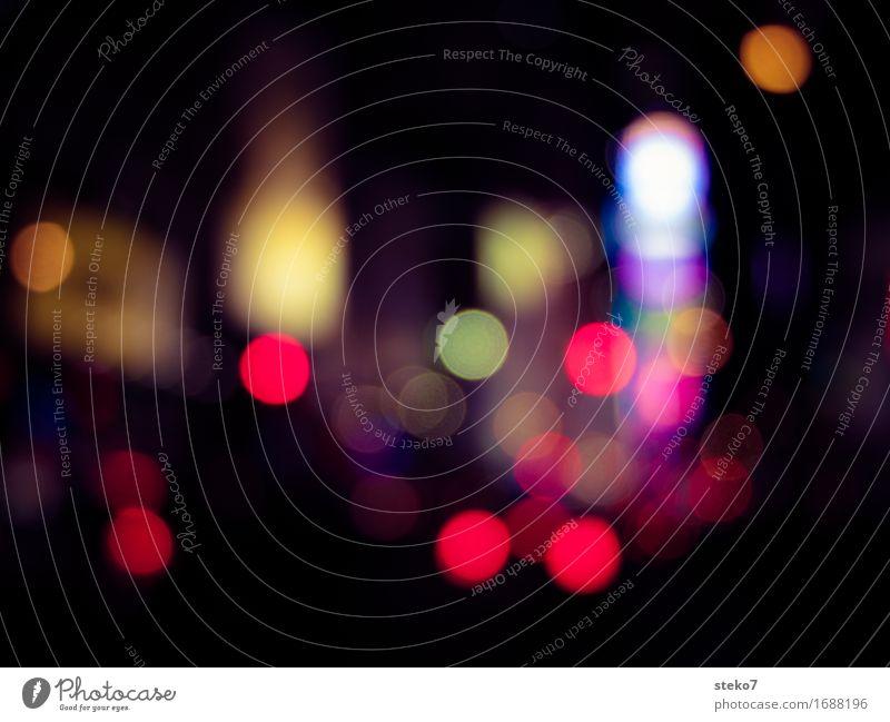 Glühtürmchen Stadt Stadtzentrum Hochhaus dunkel rund New York City Unschärfe Lichtermeer Gedeckte Farben Außenaufnahme Menschenleer Textfreiraum Mitte