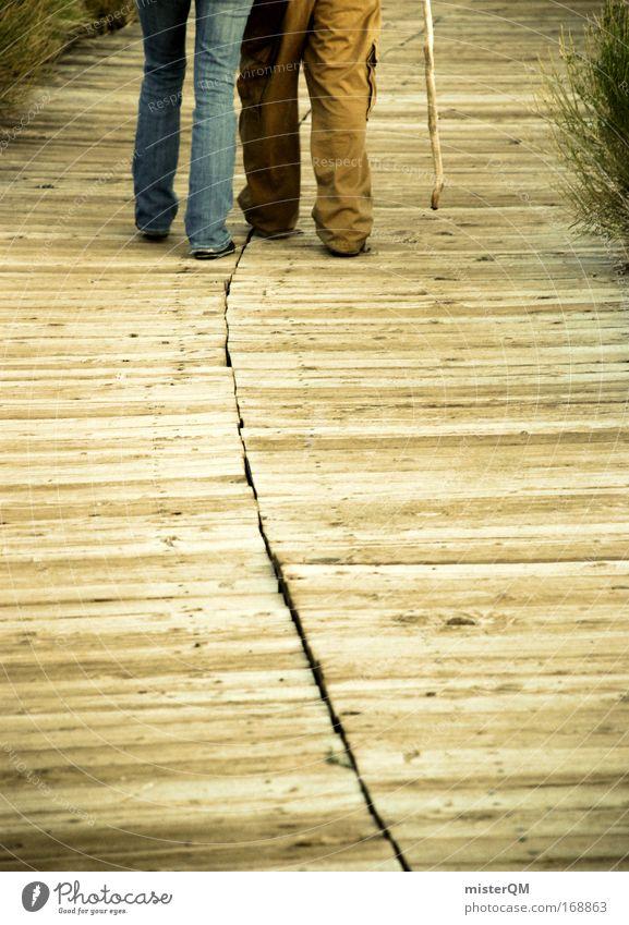 Being Together. Mensch alt ruhig Liebe Leben Senior Holz Wege & Pfade Paar Zufriedenheit Kraft laufen paarweise Hilfsbereitschaft Zukunft Spaziergang