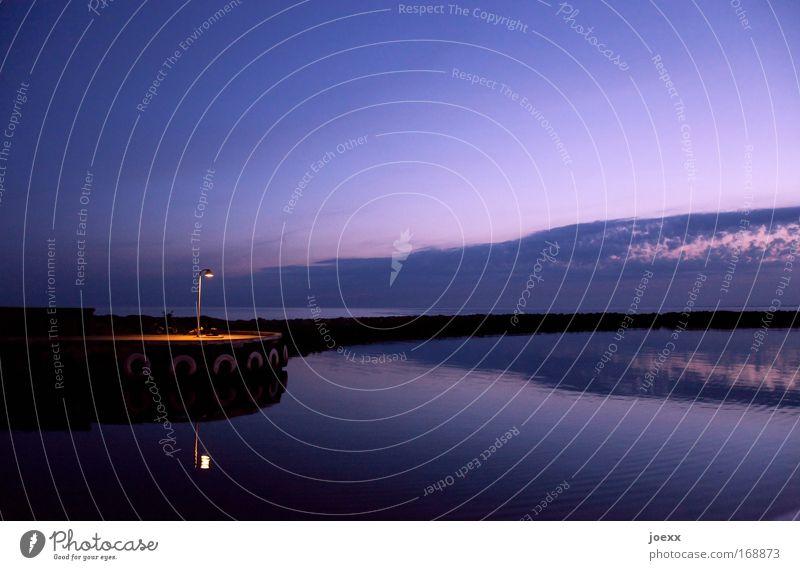Heim kommen Wasser Himmel Meer ruhig gelb Erholung Wärme Zufriedenheit Stimmung Kraft Horizont Insel Frieden violett Dänemark Hafen