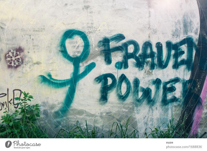 Female Fitness feminin Frau Erwachsene Schriftzeichen Graffiti authentisch Coolness einfach trendy lustig Originalität blau grau selbstbewußt Optimismus Erfolg