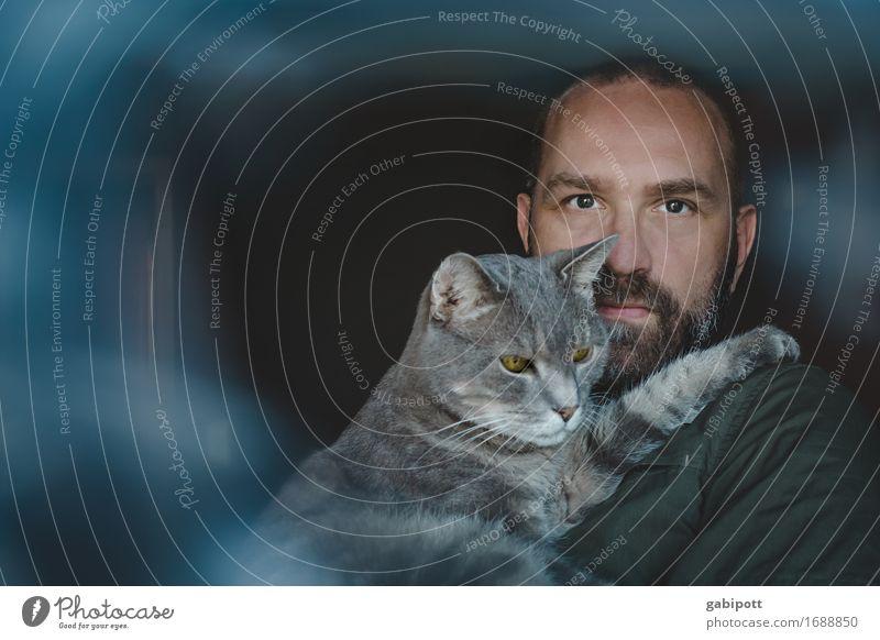 Mann mit Katze auf dem Arm / best friends harmonisch Wohlgefühl Zufriedenheit Häusliches Leben Wohnung Mensch maskulin Erwachsene Paar 1 45-60 Jahre Tier