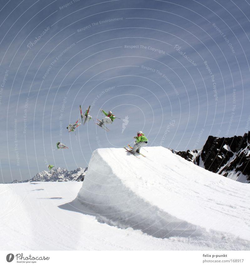 summer sucks, glacier time Mensch Jugendliche weiß grün blau Freude Sport springen Erwachsene Gesundheit fliegen groß maskulin ästhetisch Coolness Skifahren
