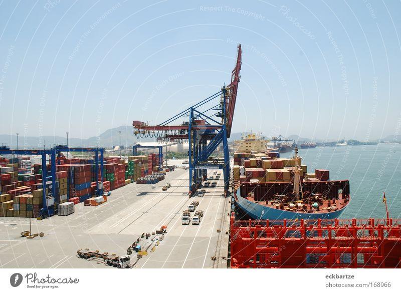 Santos Containerterminal Wasserfahrzeug hell groß Wachstum Güterverkehr & Logistik Hafen heiß Reichtum Containerschiff An Bord