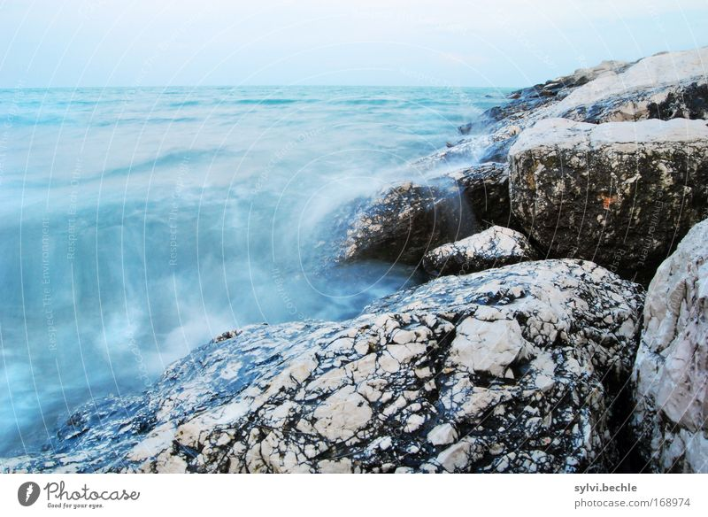 forces of nature Umwelt Natur Landschaft Urelemente Wasser Wolkenloser Himmel Horizont Wetter Wind Sturm Wellen Küste Meer Bewegung toben blau grau schwarz