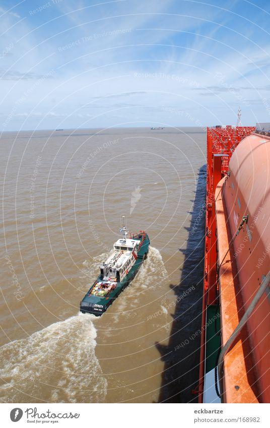Lotse auf dem Rio de la Plata Wasserfahrzeug groß Dienstleistungsgewerbe Schifffahrt Containerschiff An Bord Lotsenboot