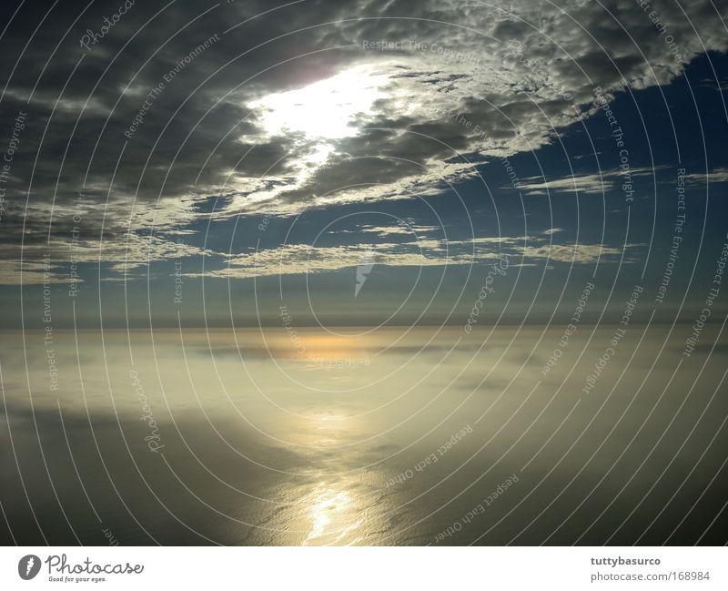 Natur Wasser schön Himmel Sonne Meer Wolken Luft fliegen Flugzeugausblick