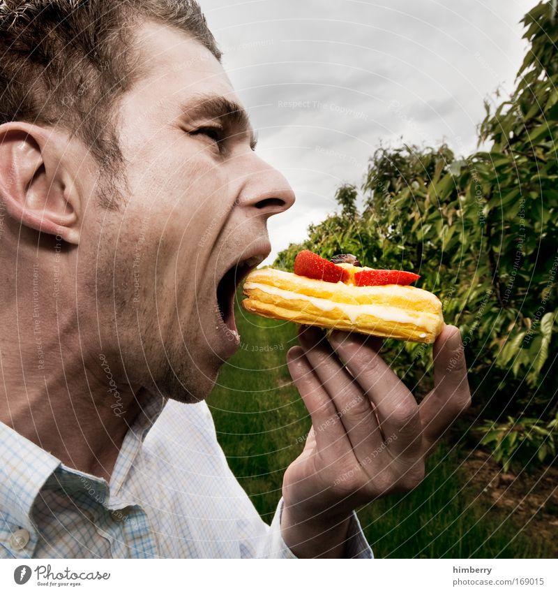 fastfoodberry Mensch Mann Freude Erwachsene Ernährung Kopf Lebensmittel Essen Mund maskulin Torte Kuchen Frucht Süßwaren lecker Lebensfreude