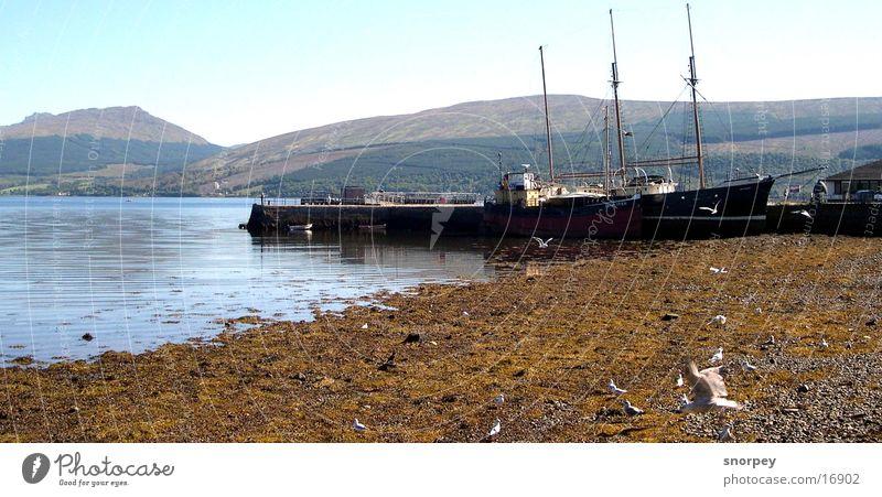 Der Hafen Wasser Berge u. Gebirge See Wasserfahrzeug Europa Amerika Strommast Segel Schottland