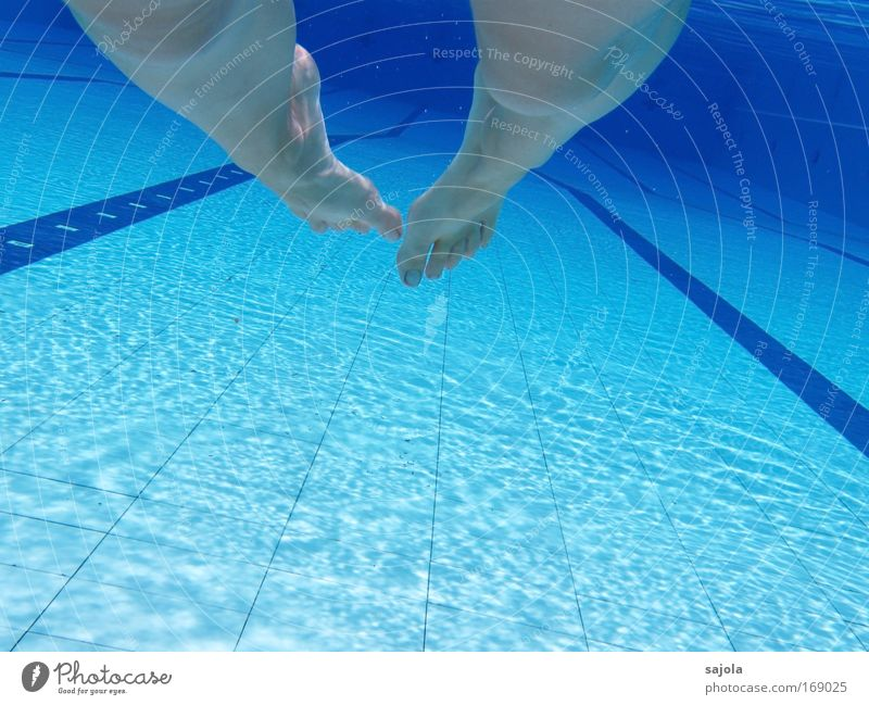 barfuss im pool Frau Mensch blau Sommer Freude Sport feminin Fuß Linie Beine Erwachsene Wellness Schwimmbad Freizeit & Hobby Schwimmen & Baden