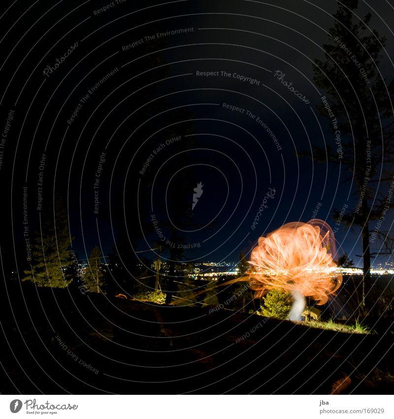 mit Feuer spielen 4 Ferien & Urlaub & Reisen blau Beleuchtung Bewegung Holz Feste & Feiern Freiheit Horizont leuchten elegant ästhetisch rund Gemälde zeichnen