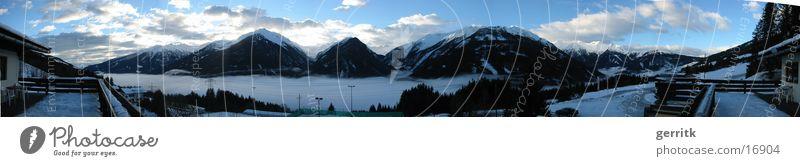 Berge Nebel Wolken Panorama (Aussicht) Berge u. Gebirge Tal Alpen Morgen groß Panorama (Bildformat)
