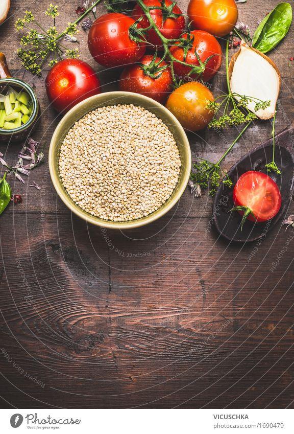 Quinoa und Salat Zutaten Gesunde Ernährung Leben Foodfotografie Stil Lebensmittel Design Häusliches Leben Tisch Kräuter & Gewürze Küche Gemüse Getreide