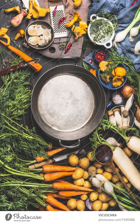 Leerer Kochtopf und Gemüse Zutaten fürs Kochen Lebensmittel Kräuter & Gewürze Öl Ernährung Mittagessen Abendessen Bioprodukte Vegetarische Ernährung Diät