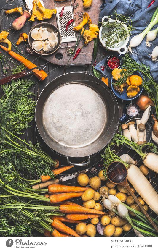 Leerer Kochtopf und Gemüse Zutaten fürs Kochen Gesunde Ernährung Leben Stil Lebensmittel Design Häusliches Leben retro Tisch Kräuter & Gewürze Küche Bioprodukte