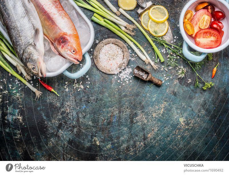 Fischgericht Zubereiten Lebensmittel Gemüse Kräuter & Gewürze Öl Ernährung Mittagessen Bioprodukte Vegetarische Ernährung Diät Slowfood Geschirr Stil Design