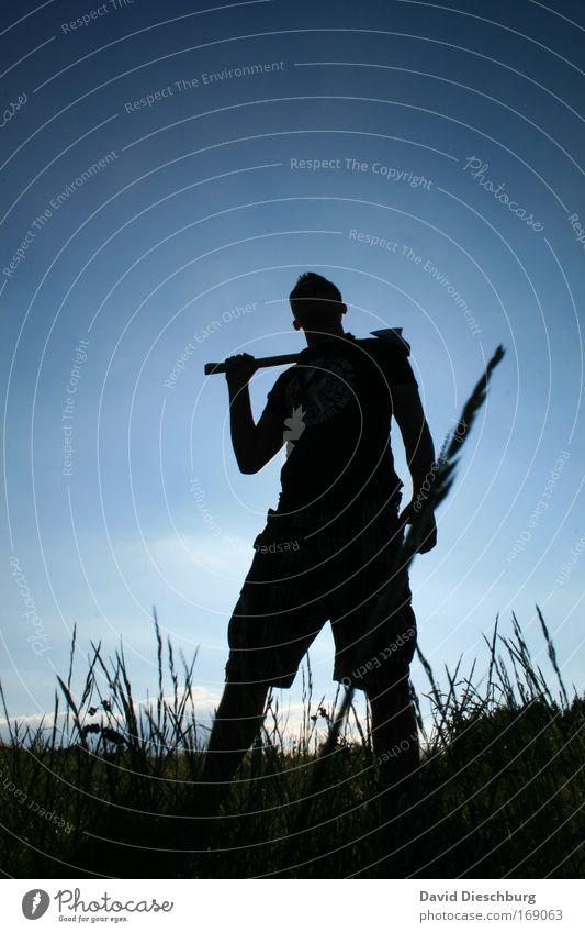 Wenn er nicht gestorben ist... Mensch Himmel Natur blau Pflanze schwarz Wiese Gras stehen einzeln Körperhaltung Arbeiter Werkzeug Axt 1 Mensch Holzfäller