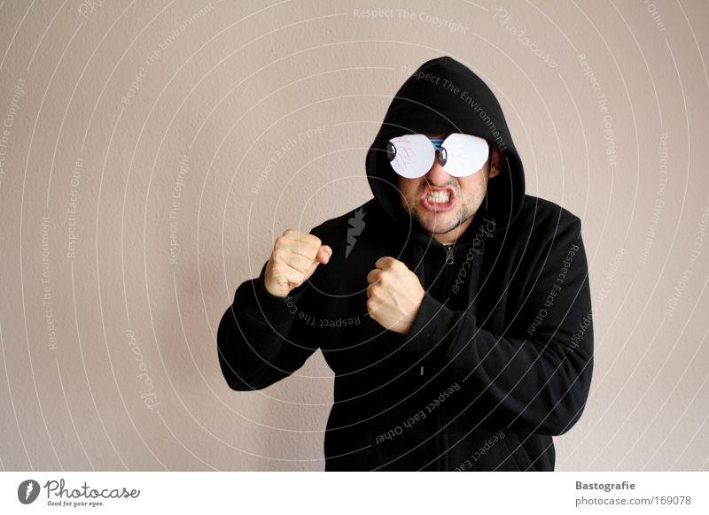 gargamels fight club Mann schwarz Gefühle Körperhaltung Wut Pullover kämpfen Comic Ärger Aggression Kapuze Kopfbedeckung schlagen Faust Kampfsport provokant