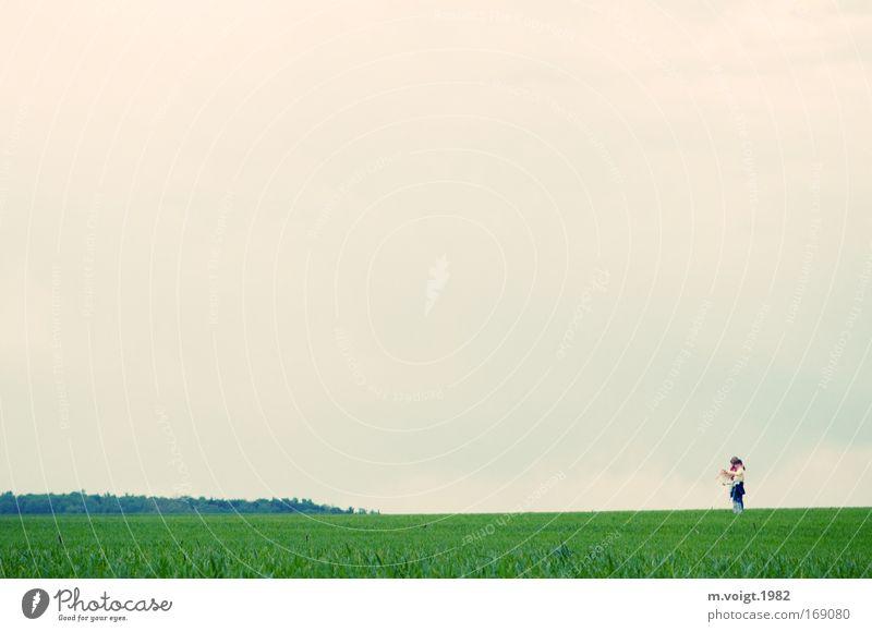 Auf der Suche Mensch Himmel Natur Freude Ferne Frühling Wiese Glück Freiheit Zusammensein Freundschaft Horizont Wetter Feld Kindheit Fröhlichkeit