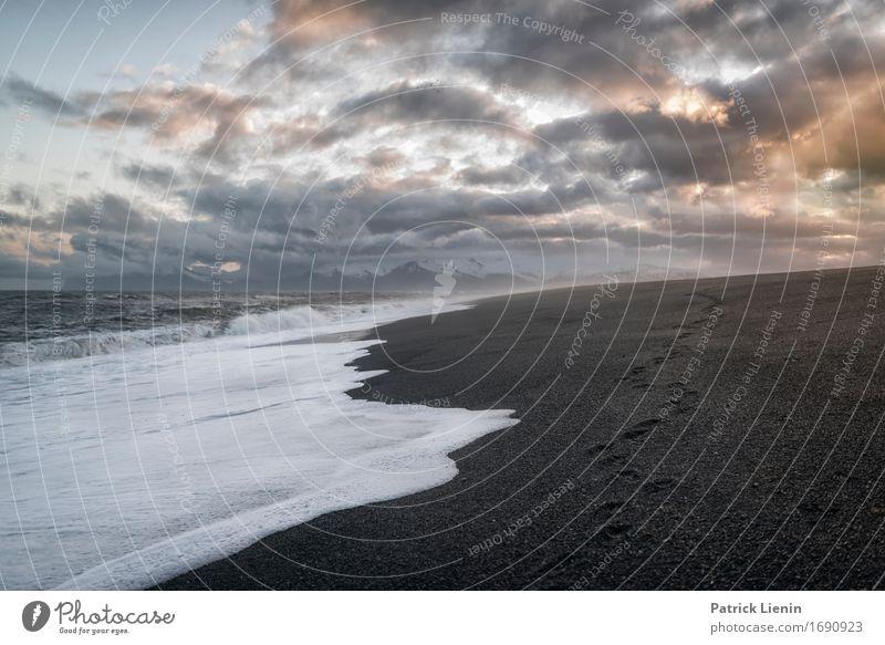 Black Sand Himmel Natur Ferien & Urlaub & Reisen schön Meer Landschaft Wolken Ferne Strand Umwelt Leben Küste Freiheit Erde Tourismus Zufriedenheit