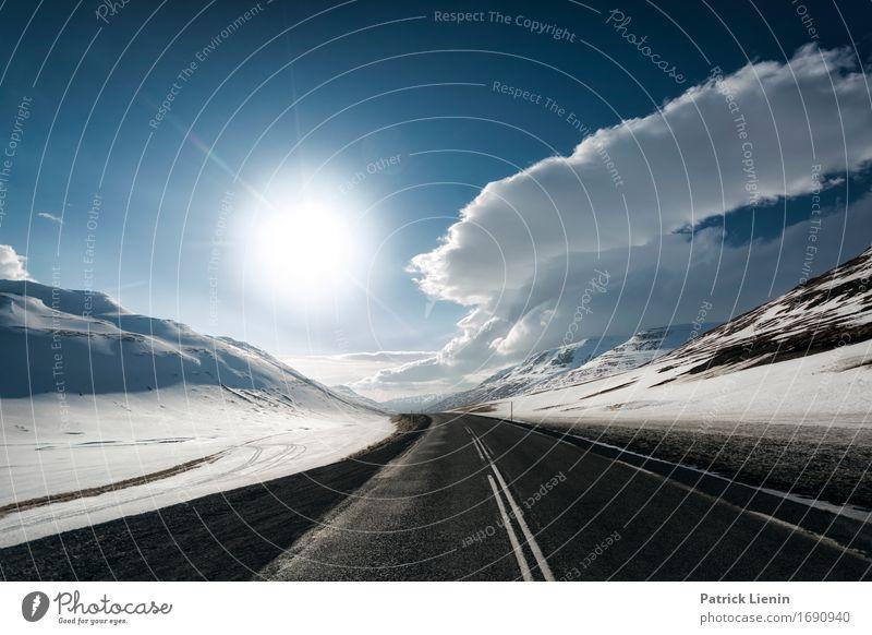 Iceland Himmel Natur Ferien & Urlaub & Reisen Landschaft Wolken Winter Berge u. Gebirge Umwelt Straße Leben Wege & Pfade Schnee Erde Horizont Wetter Verkehr