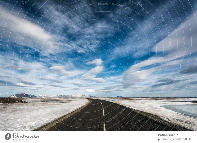 Weg durch die Wolken Himmel Natur Ferien & Urlaub & Reisen Landschaft Einsamkeit Winter Berge u. Gebirge Umwelt Straße Leben Wege & Pfade Erde Horizont Wetter