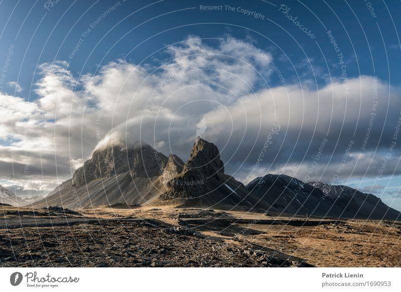 Stokksnes Himmel Natur Ferien & Urlaub & Reisen schön Meer Landschaft Erholung Wolken ruhig Strand Berge u. Gebirge Umwelt Leben Frühling Erde Felsen