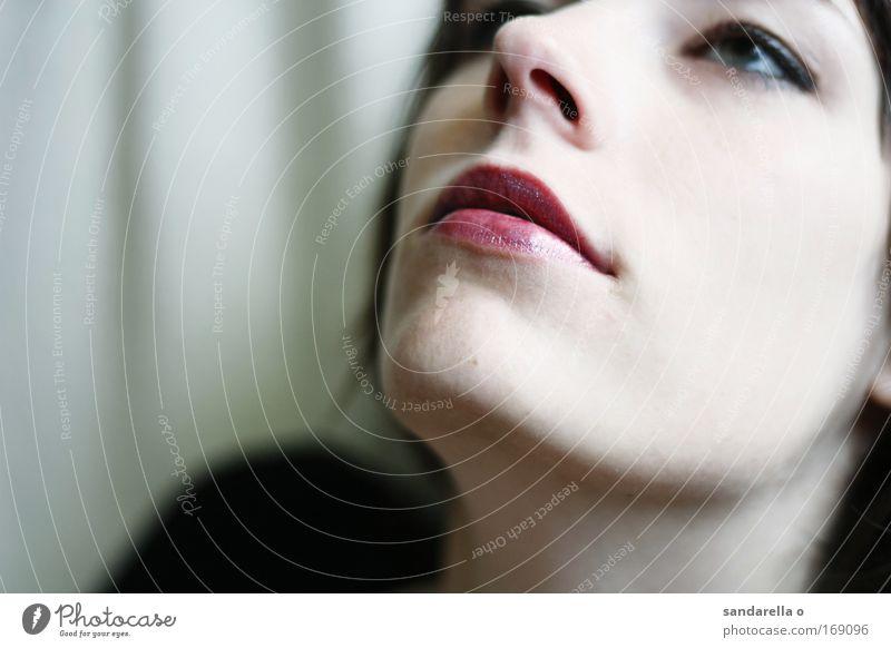 Narzis & Goldmund Gedeckte Farben Innenaufnahme Nahaufnahme Textfreiraum links Blick nach oben Stil schön Kosmetik Schminke Lippenstift Mensch feminin