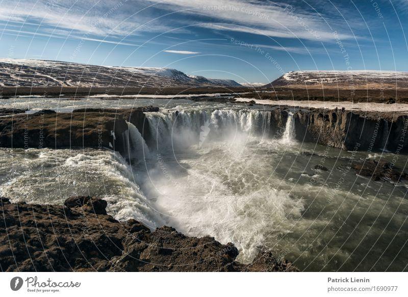 Goðafoss Himmel Natur Ferien & Urlaub & Reisen schön Landschaft Umwelt Leben natürlich Erde Insel Energie Abenteuer Wasserfall Godafoss