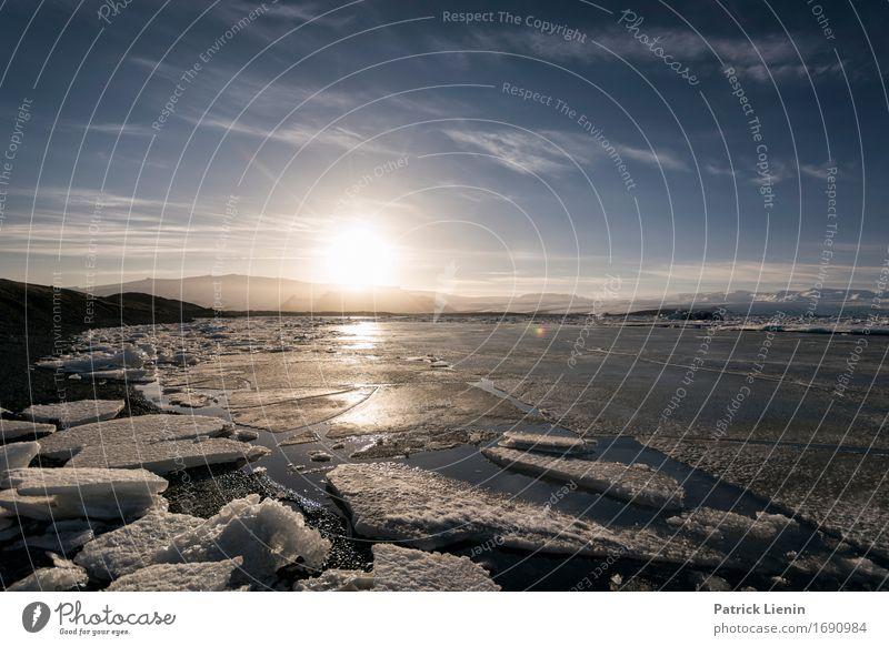 Jokulsarlon schön Leben Ferien & Urlaub & Reisen Abenteuer Sonne Insel Winter Schnee Berge u. Gebirge Umwelt Natur Landschaft Urelemente Erde Himmel Wolken