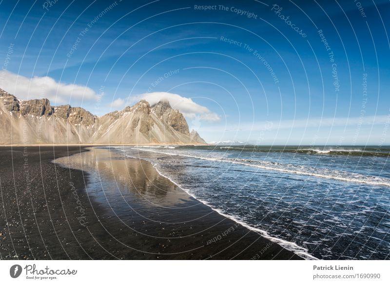 Blue Ocean schön Leben Ferien & Urlaub & Reisen Abenteuer Strand Meer Insel Wellen Schnee Berge u. Gebirge Umwelt Natur Landschaft Erde Himmel Wolken Frühling