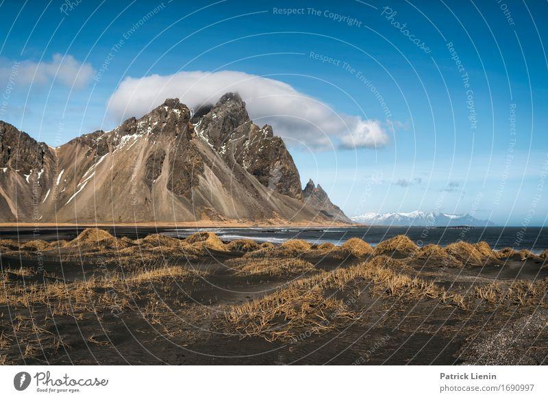 Vestrahorn Himmel Natur Ferien & Urlaub & Reisen blau schön Meer Landschaft Wolken Strand Berge u. Gebirge Umwelt Leben Frühling Gras Küste Schnee