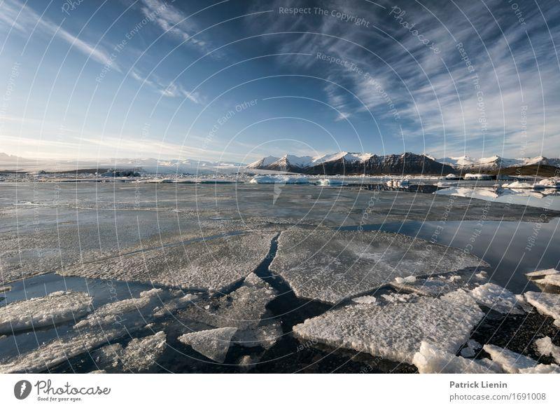 Jökulsárlón Himmel Natur Ferien & Urlaub & Reisen schön Sonne Landschaft Meer Wolken Winter Berge u. Gebirge Umwelt Leben Küste Schnee Erde See